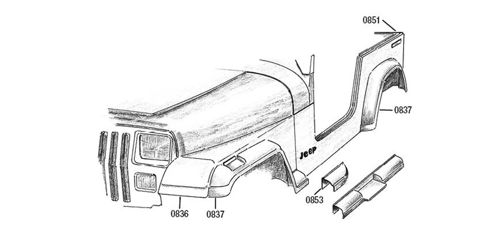 carrosserie jeep wrangler yj