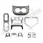 Kit enjoliveurs intérieur de tableau de bord (avec boite auto) (en plastique gris) pour Jeep Wrangler JK 2 portes