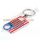 Porte clef Jeep avec forme de calandre Jeep CJ en acier avec couleur drapeau USA