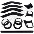 Kit d'enjoliveurs de tableau de bord et portes (12 pièces) (couleur: noir) pour Jeep Wrangler JK
