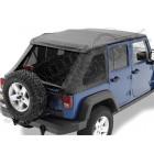 """Bâche complète """"Trektop NX"""" ''Style Black Twill' avec fenêtres teintées, Jeep Wrangler JK Unlimited (4 portes) (bâche de qualité triples épaisseurs )"""