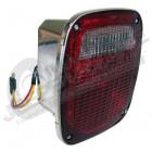 Feu arrière gauche (avec éclaireur de plaque) (version US) rouge et blanc (boitier chromé) pour Jeep CJ, Wrangler YJ, TJ