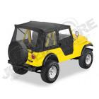 Bâche Supertop soft-top avec portes soft-top en deux parties séparables Couleurs: Black Denim Jeep CJ3 et CJ5