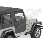 Kit demi portes en toile en deux parties séprable, couleur: black denim, Jeep Wrangler TJ