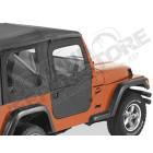 Kit demi portes en toile en deux parties séprable, couleur: black diamond, Jeep Wrangler TJ
