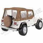 Bâche complète avec fenêtres non teintées et fenêtres de demi-portes avant, couleur: Spice (marron) pour Jeep Wrangler YJ