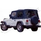 Bâche complète avec fenêtres teintées et fenêtres de demi-portes avant, couleur: Black pour Jeep Wrangler YJ