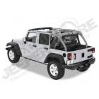 """Bâche """"Windjammer"""" , couleur: Black Diamond pour Jeep Wrangler JK Unlimited (4 portes) rideau vertical à l'arrière des sieges arrière"""