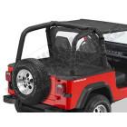 """Couverture de plateau de chargement """"Duster"""" (vendu sans armature) Couleur: Black Denim, Jeep Wrangler YJ (permet de garder les fixations de bâche d'origine sous le duster)"""