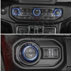 Kit de 4 enjoliveurs de boutons de tableau de bord (couleur: bleu) Jeep Wrangler JL