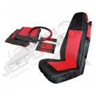 Front Seat Cover Set (Black/Red)