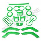 Kit d'enjoliveurs de tableau de bord et portes (18 pièces) (couleur: vert) pour Jeep Wrangler JK
