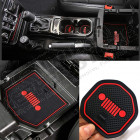 Kit tapis caoutchouc pour rangement tableau de bord avec logo Jeep couleur rouge pour Jeep Wrangler JL