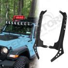 Fixations pour rampe LED 52'' sur baie de pare brise Jeep Wrangler JL