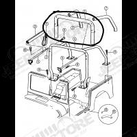 New Old Stock: Housse d'arceau de sécurité (partie centrale seulement) couleur marron pour Jeep Wrangler YJ