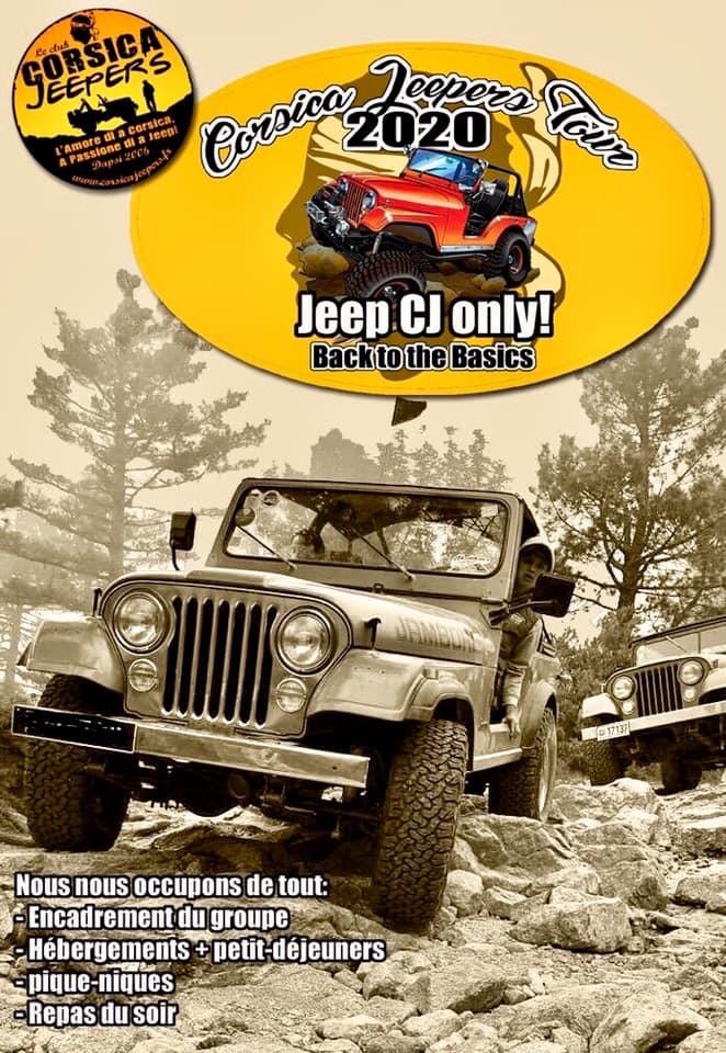 Affiche de l'évènement du Corsica Jeeper Tour 2020 organisé par l'association Corse