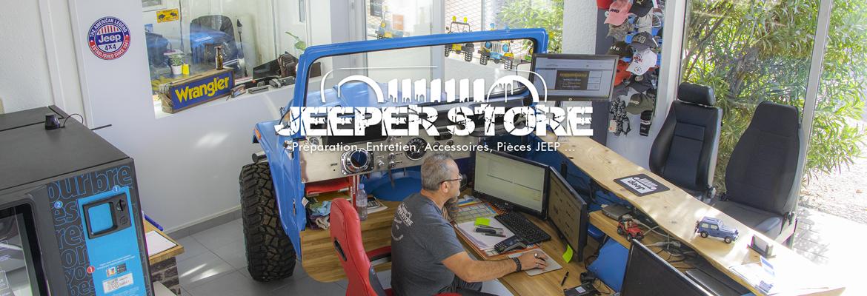 Accueil du magasin Jeeper Store Montpellier, avec son comptoir d'accueil original : un CJ7 transformé en comptoir d'accueil. Le garage Jeeper Store se trouve seulement à 20 minutes de Montpellier en passant par l'autoroute A709. Vous pourrez profiter de nombreux avantages pour l'entretien de votre Jeep et l'achat d'accessoires.