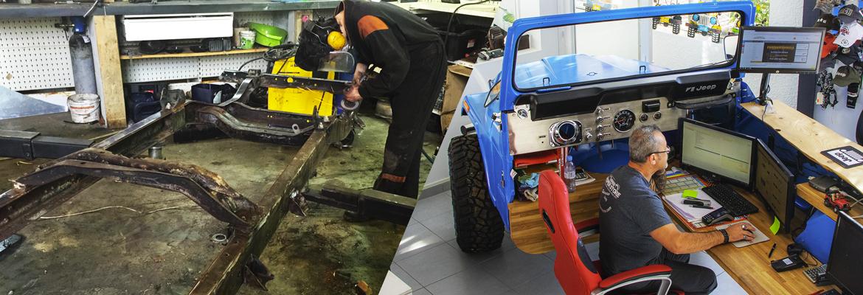 Il s'agit de réalisation automobile par le Jeeper Store Montpellier, le spécialiste Jeep. A gauche, notre mécanicien travaille sur un prototype de CJ6. A droite, il s'agit d'un comptoir d'accueil réalisé avec un CJ. Nos mécaniciens sont capables de réaliser toutes sortes de préparations Jeep. Les seules limites sont l'imagination et celles données par le client.
