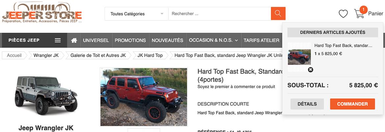 Selection de votre panier Jeeper Store - commander vos pièces Jeep depuis les DOM-TOM ou depuis l'international
