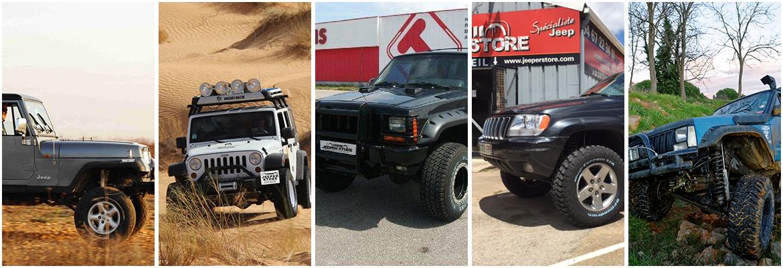 Mosaïque de Jeep préparées, dont la réalisation a été par Jeeper Store le meilleur préparateur Jeep