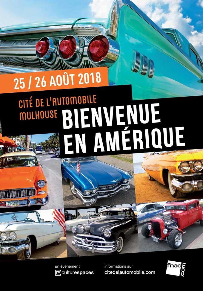 Rassemblement de voitures US à la Cité de l'Automobile de Mulhouse