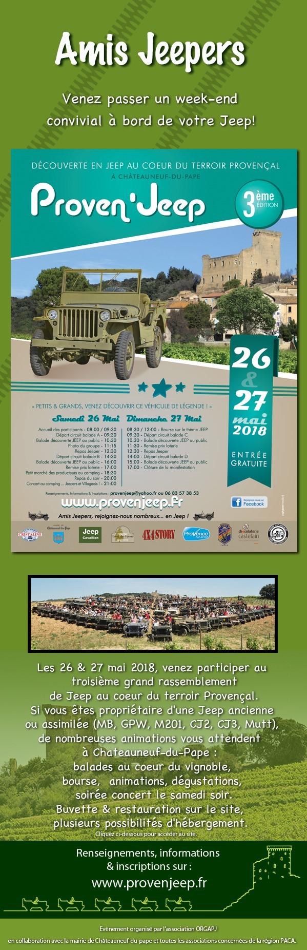 Rassemblement Jeep ancienne en Provence le 26 et 27 mai 2018 à Chateauneuf du pape.