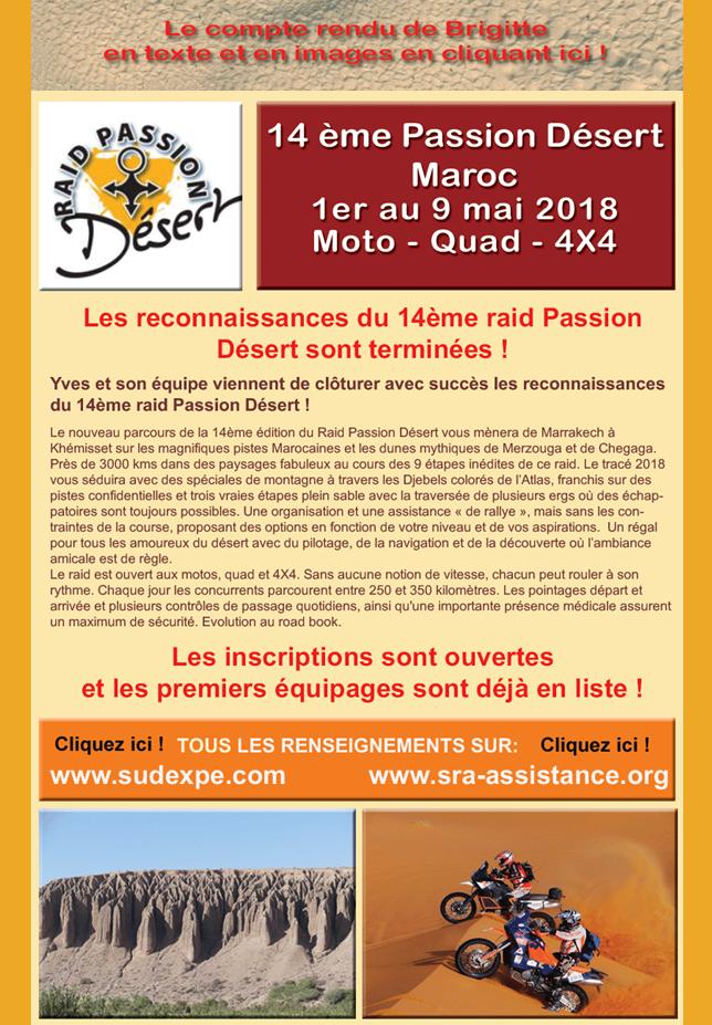 14eme Passion Désert au Maroc en mai 2018