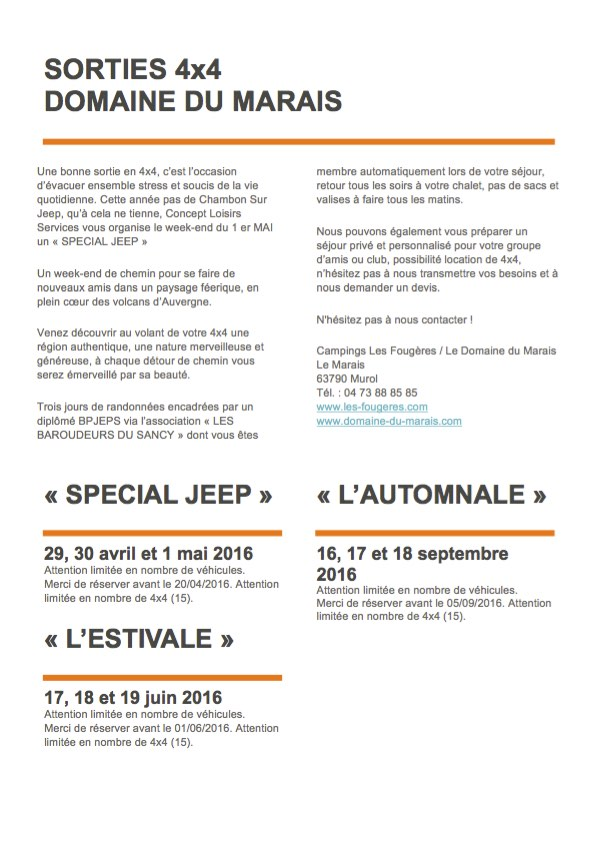 Domaine du Marais sortie 4x4 en mai, juin, septembre et octobre