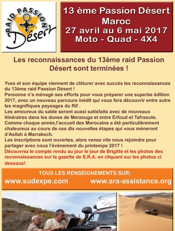 Raid Passion Désert du 27 avril au 6 mai 2017 avec Sud Expédition