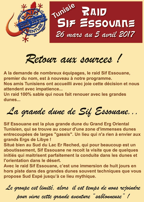 Sortie Raid Sif Essouane en Tunisie en mars et avril 2017 avec sud Expé Aventure