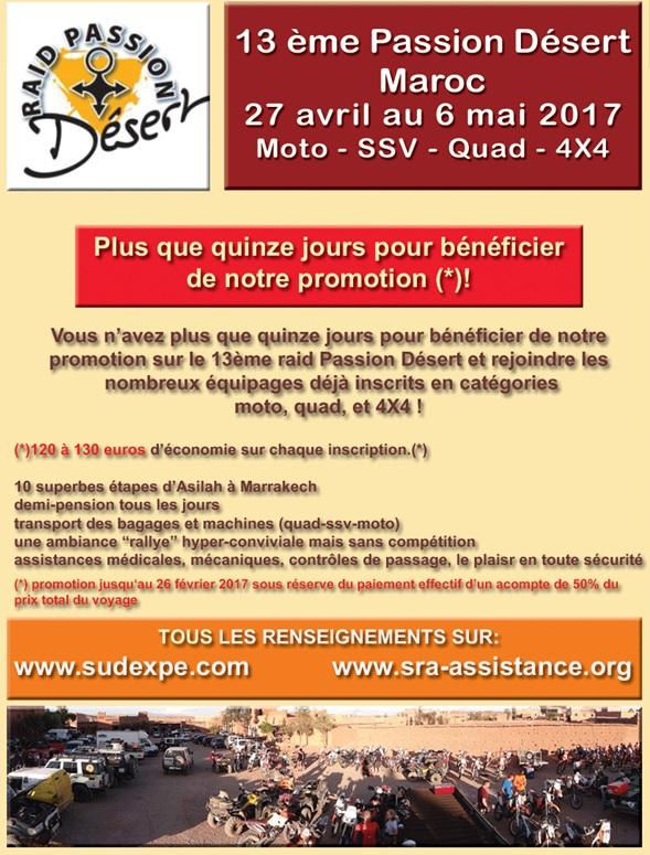 Raid: 13eme Passion Désert Maroc 4x4, SSV, Quad, Moto du 27 avril au 6 mai 2017.